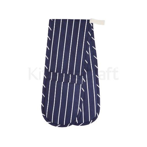 Kitchen Craft Blue Butcher's Stripe Double Oven Glove