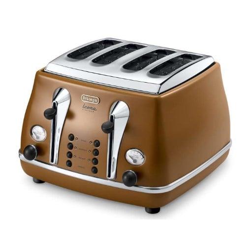 DeLonghi Icona Vintage 4 Slice Toaster - Brown CTOV4003.BW