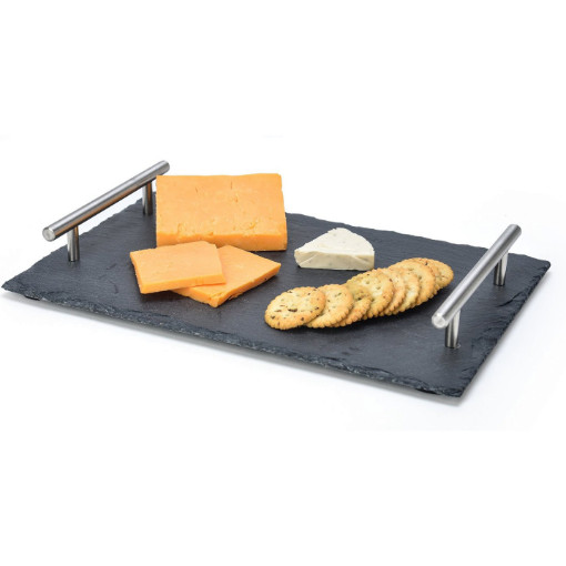 GreenLeaf Rectangular Slate Cheese Board with Metal Handles 40cmx20cm