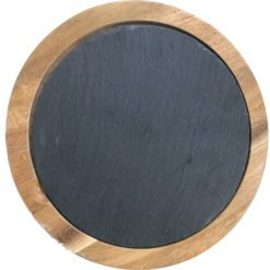Round Acacia Cheese Board with Slate Insert