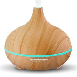 Greenleaf Mini Ultrasonic Essential Oil Diffuser and Humidifier 120ML with LED Lights Light Wood
