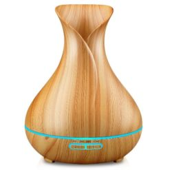GreenLeaf Vase Shape Essential Oil Diffuser and Humidifier, Light Wood
