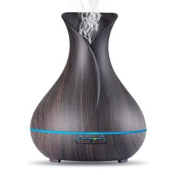 GreenLeaf Vase Shape Essential Oil Diffuser and Humidifier, Dark Wood