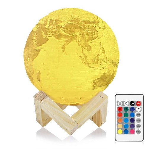 Smugg 3D Printed Earth Night Light 16 Colours, 15cm