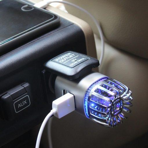 GreenLeaf Ionic Car Air Purifier with Dual USB Charging Ports