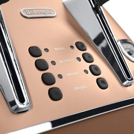 Delonghi Distinta 4 Slice Toaster Copper
