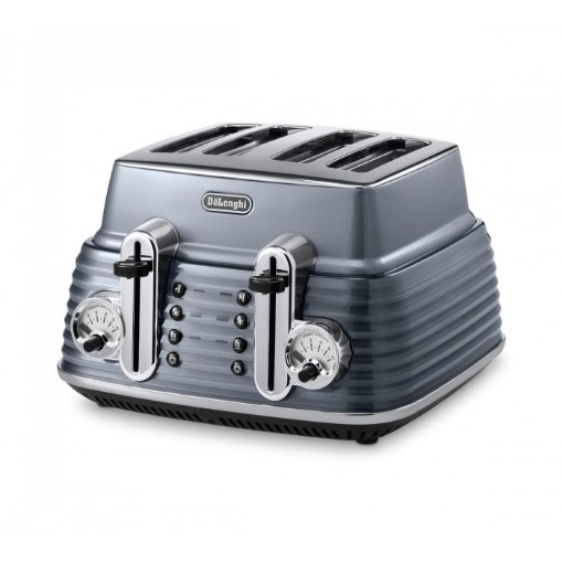 Delonghi Scultura 4 Slice Toaster, Steel Grey
