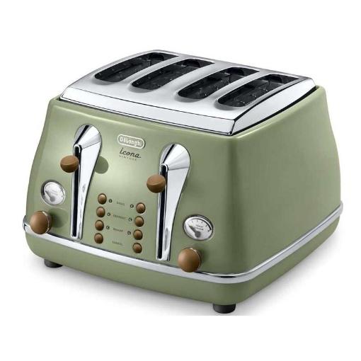 Delonghi Icona Vintage 4 Slice Toaster, Olive Green