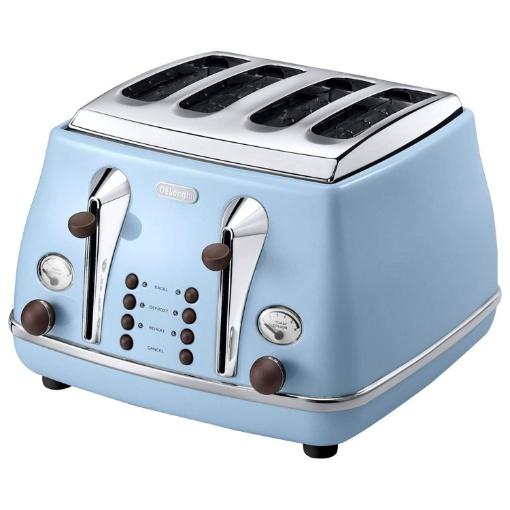 Delonghi Icona Vintage 4 Slice Toaster, Blue