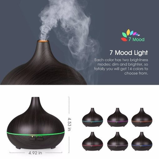 Greenleaf Mini Ultrasonic Essential Oil Diffuser and Humidifier 150ML with LED Lights Dark Wood
