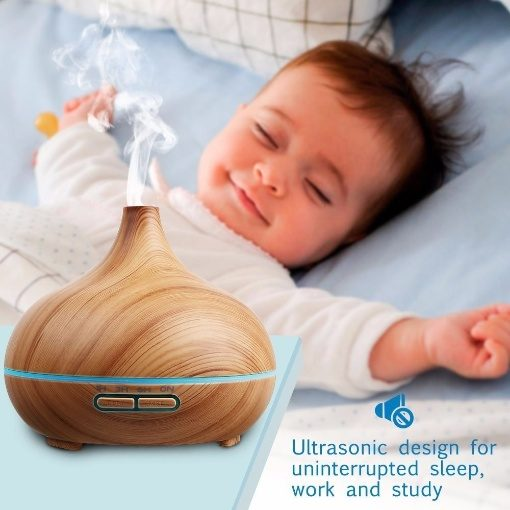Greenleaf Mini Ultrasonic Essential Oil Diffuser and Humidifier 150ML with LED Lights Light Wood