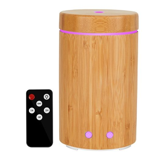 GreenLeaf Ultrasonic Essential Oil Diffuser and Humidifier 160ML with LED Lights, Real Bamboo