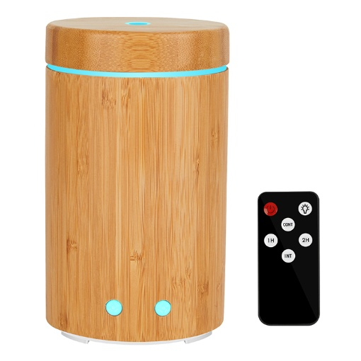 GreenLeaf Bamboo Ultrasonic Essential Oil Diffuser and Humidifier 160ML with LED Lights