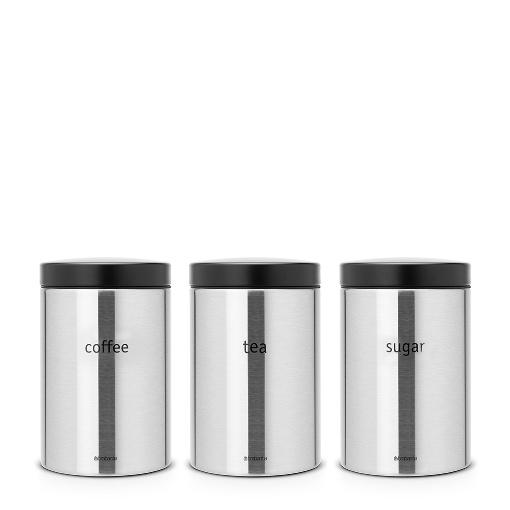 Brabantia Canister, Set of 3, Tea/Coffee/Sugar, 1.4L Matt Steel