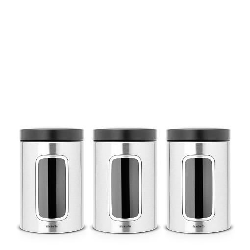 Brabantia Window Canister Set of 3, 1.4L Matt Steel