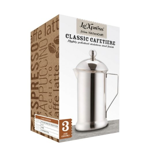 Kitchen Craft Le'Xpress 3 Cup Single Wall Stainless Steel Coffee Plunger
