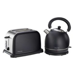 Russell Hobbs Matt Black Kettle and Toaster Breakfast Set