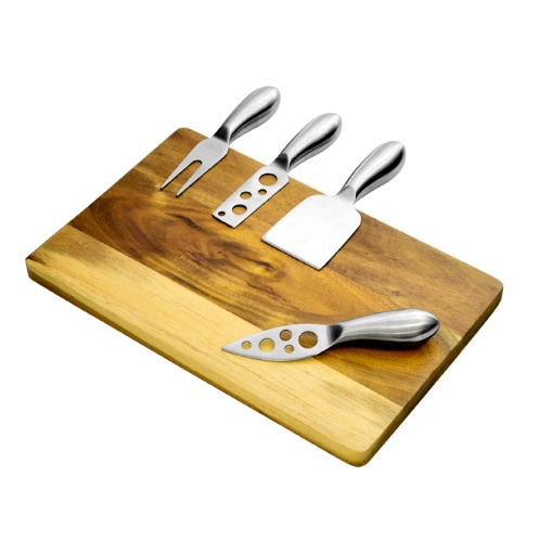 Eetrite 5 Piece Cheese Knife and Acacia Board Set