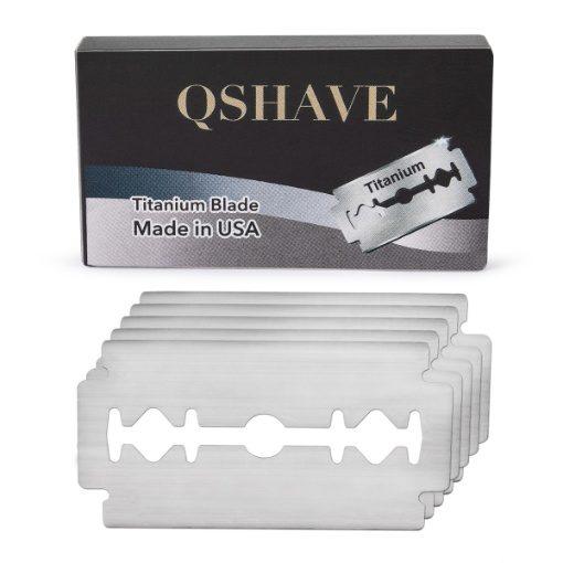 QShave Titanium Double Edge Razor Blades, Pack of 5
