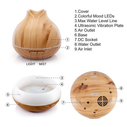 GreenLeaf Rose Essential Oil Diffuser & Humidifier 400ml, Dark Wood