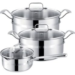 Jamie Oliver Brushed Stainless Steel 6 Piece Pot Set