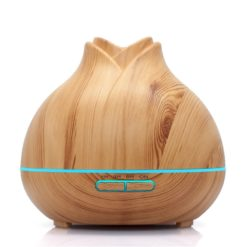 GreenLeaf Rose Essential Oil Diffuser and Humidifier 400ml with LED Lights, Light Wood