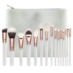 GreenLeaf White Makeup Brush Set 15 Piece with Cosmetic Bag