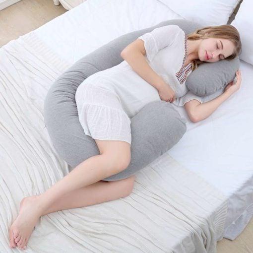 GreenLeaf Full Body Pregnancy Pillow C Shape - Grey