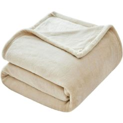 GreenLeaf Luxury Flannel Fleece Blanket Beige