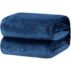 GreenLeaf Luxury Flannel Fleece Blanket Navy