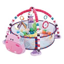 Time2Play Baby Activity Hippo Round Play Mat with Toys