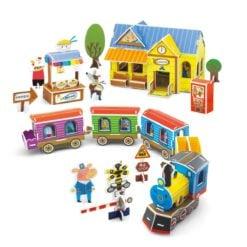 Time2Play Kids DIY 3D Construction Puzzle Train Building Set -91 Piece