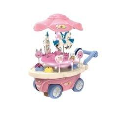 Time2Play Kids Carousel Candy Cart Play Set Pink