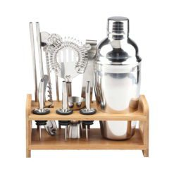 CheffyThings Cocktail Shaker with Wooden Stand Set 750ml