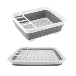CheffyThings Folding Dish Rack Grey and White